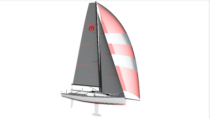 Starboard view: With a retractable keel and a removable rudder, the Moore 33 will be off to races near and far. © Moore Sailboats